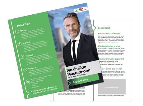 Landtagswahl-Kandidatenflyer 4-Seiter