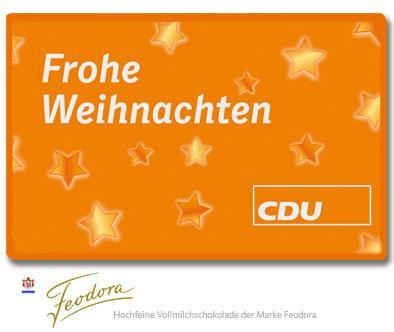 CDU Schokoladentäfelchen Frohe Weihnachten