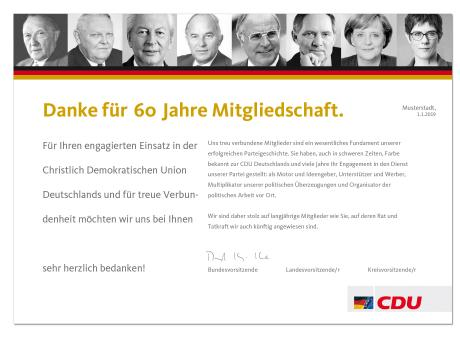 """Ehrenurkunde: """"CDU Mitglied"""" 50 Jahre"""