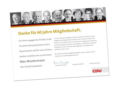"""Ehrenurkunde: """"CDU Mitglied"""""""