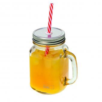 Trinkglas mit Deckel + Strohhalm CDU